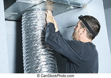 en, ventilation, ren, check, by, støv, på, it.
