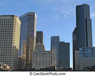 en ville, bâtiments, seattle