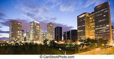 en ville, beijing, bâtiments, bureau, nuit