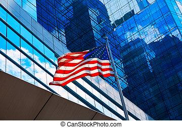 en ville, boston, drapeau, américain, massachusetts