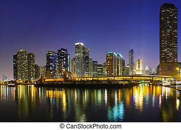 en ville, chicago, il, nuit