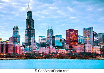 en ville, cityscape, chicago