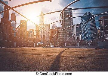 en ville, coucher soleil, chicago