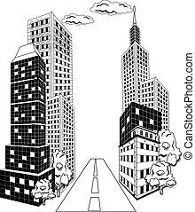 en ville, dessin animé, ville