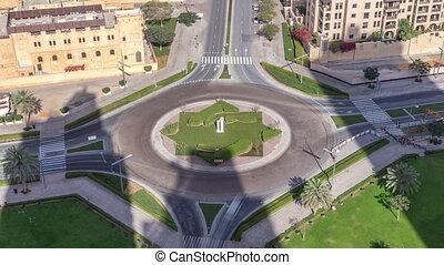 en ville, dubai, uni, aérien, timelapse., arabe, emirates., détourné, au-dessus, cercle, vue, route, dubai