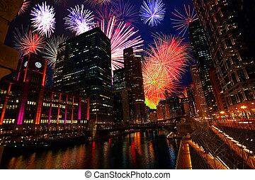 en ville, feux artifice, nuit, exposition, chicago