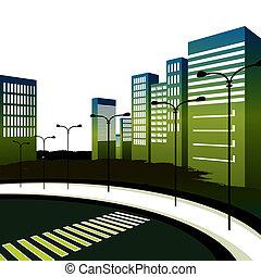 en ville, grand, image, city., passage clouté