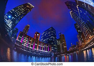 en ville, gratte-ciel, chicago, ciel, contre, sombre