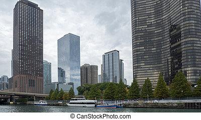 en ville, gratte-ciel, chicago