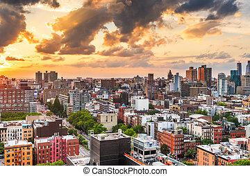 en ville, horizon, york, nouveau, usa