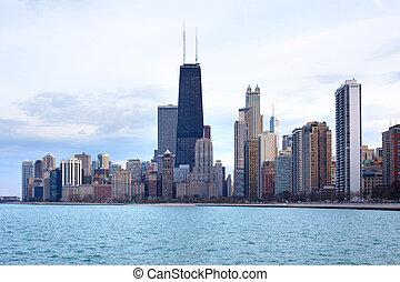 en ville, illinois, horizon, chicago, usa
