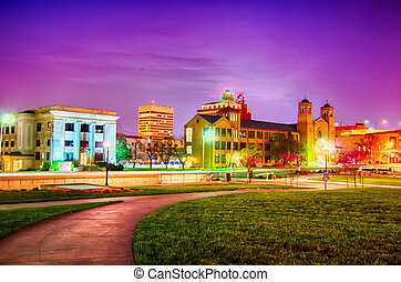 en ville, kansas, topeka, nuit