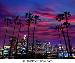 en ville, la, angeles, los, horizon, coucher soleil, nuit, ...