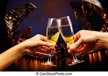en ville, lunettes champagne, usa, chicago