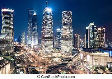 en ville, nuit, shanghai, vue