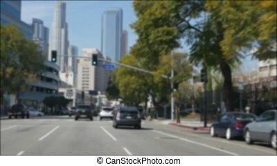 en ville, pare-brise, route, travers, driveway., defocused, ...
