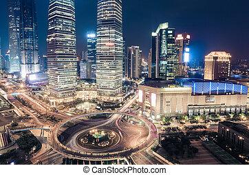 en ville, shanghai, closeup, nuit