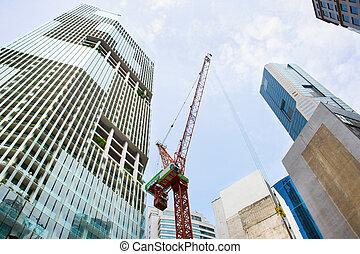 en ville, site construction, singapour, activité