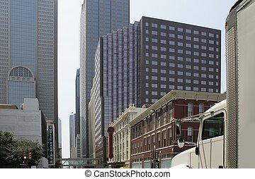 en ville, ville, bâtiments, dallas, vues