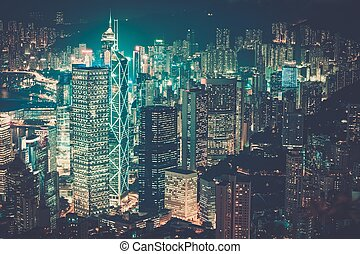 en ville, ville, moderne, nuit