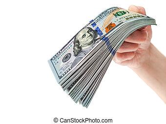 ena hundra dollar, isolerat, hand, bakgrund, vit, lagförslaget, stack