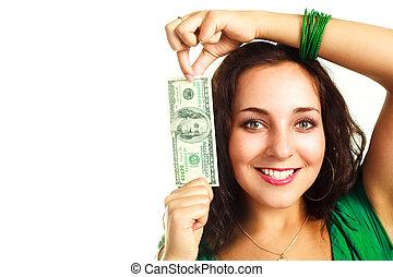 ena hundra dollars, kvinna, nätt, en