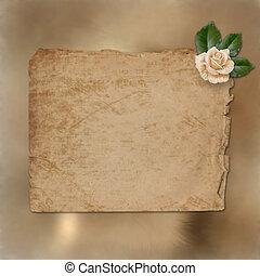 enajenado, felicitación, rosa, papel, grunge, pintura