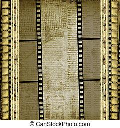 enajenado, viejo, filmstrip, plano de fondo, papeles, grunge