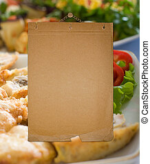 enajenado, viejo, restaurante, pared, menú, lista, papel