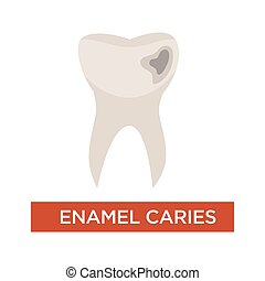Enamel caries dental disease tooth damage dentistry -...