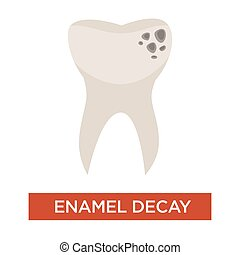Enamel decay isolated icon toothache and damaged tooth...