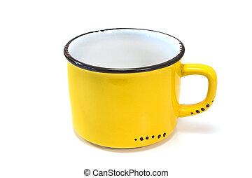 Enamel yellow mug isolated on white