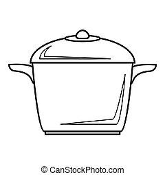 Enameled pot icon, outline style