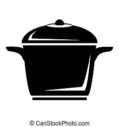 Enameled pot icon, simple style
