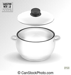 Enameled white saucepan with lid. Realistic vector on transparent background, 3d illustration