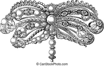 Old engraved illustration of enamelled Brooch embellished with pearls and diamonds which belongs to seventeenth century, isolated on a white background. Industrial encyclopedia E.-O. Lami - 1875.