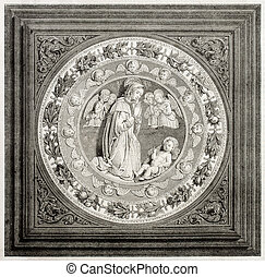Enamelled porcelain - Old illustration of antique enamelled...