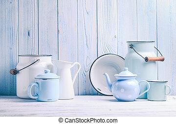 Enamelware still life - Enamelware on the kitchen table over...