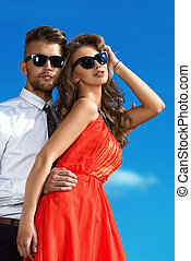 enamored - Beautiful romantic couple in love standing over ...