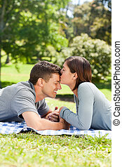 Enamored couple in the park
