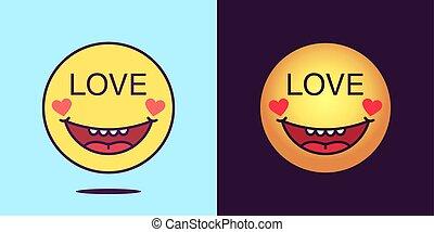 enamored, faces, émotion, texte, média, locution, emoticon, ...