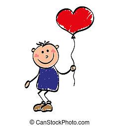 enamored, niño, con, globo