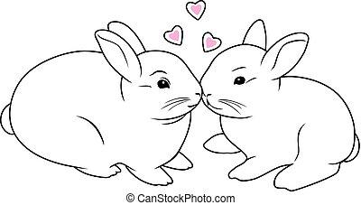 Enamored rabbits. Contour drawing