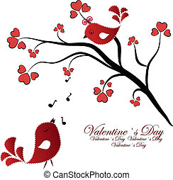 Enamoured red birdies on a branch with hearts on a white background