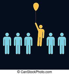 enastående, man, med, a, balloon