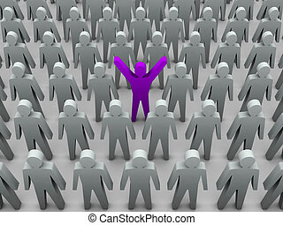 enastående, person, in, folkhop., begrepp, 3, illustration
