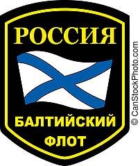 enblem, vector, militar, ruso, báltico, flota