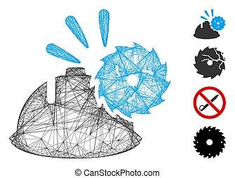encabece proteção, lâmina, rede, malha, vetorial, circular