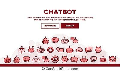 encabezamiento, vector, chatbot, robot, aterrizaje
