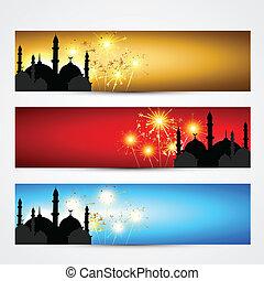 encabezamientos, conjunto, islámico